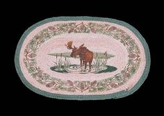 """HAND PRINTED MOOSE CREEK RUG - This rug has been hand printed with as many as ten different colours! Detailed images with unparalleled shading and colour sets the standard for this beautiful rug. 20"""" x 30""""."""