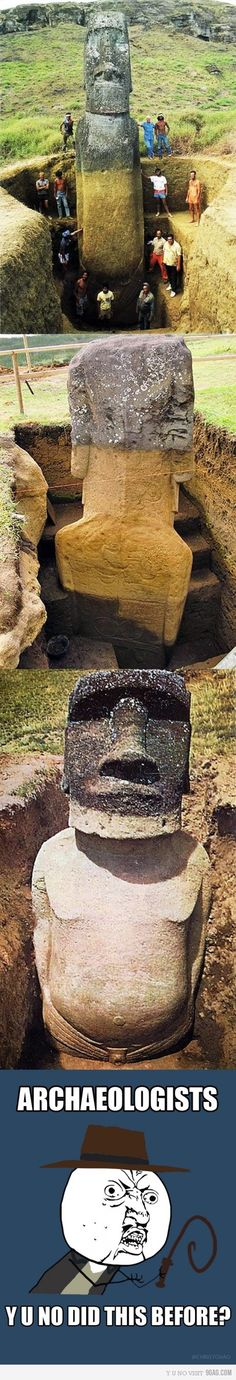 "Easter island question: ""Why had you not figured out that at least some of the statues have bodies?"""