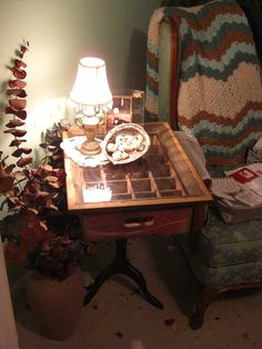 Coke Crate End Table  maybe on my old sewing machine base