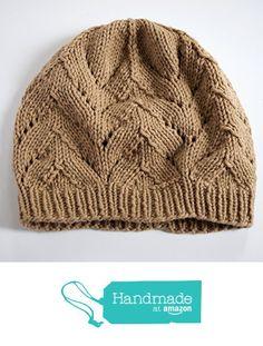Tan Hand Knit Beanie Hat with Chevrons, Vegan Friendly Acrylic Yarn, Ready to Ship from BrittanyMarieSimplyKnits http://www.amazon.com/dp/B01DWI1Q40/ref=hnd_sw_r_pi_dp_WNnnxb1KK2KE3 #handmadeatamazon