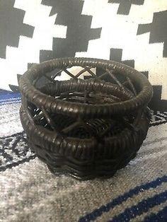 Boho Basket Planter Brown Wicker Pot in Home & Garden, Home Décor, Baskets Wicker Planter, Basket Planters, Rattan Basket, Flower Planters, Baskets On Wall, Storage Baskets, Bag Storage, Belly Basket, Tobacco Basket