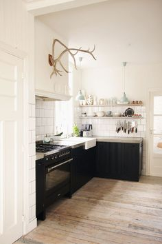 black airy kitchen