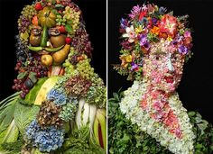 Portraits Made of Fruits, Vegetables & Flowers. Klaus Enrique Gerdes, a New York City photographer, has created a series of original portraits made exclusively from vegetables, fruits and flowers.