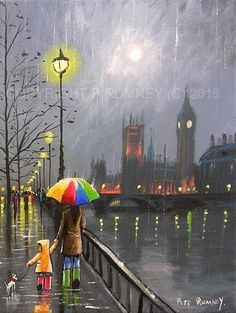 Pete rumney fine art modern acrylic oil original painting thames london big ben
