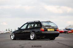 Black BMW e36 touring on classic BBS RF wheels (9,5x17 ET13 +10x17 ET6; 205/40 all round)