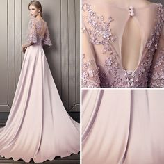 Modern / Fashion Candy Pink Pierced Evening Dresses 2018 A-Line / Princess Scoop. Modern / Fashion Candy Pink Pierced Evening Dresses 2018 A-Line / Princess Scoop Neck Sleeves Appliques Lace Sequins Beading Cathedral Train Ruffle Backless Formal Dresses Glamorous Evening Dresses, Grey Evening Dresses, Burgundy Evening Dress, Elegant Dresses, Pretty Dresses, Sexy Dresses, Evening Gowns, Beautiful Dresses, Fashion Dresses