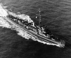 80-G-298109: USS Foss (DE 59), altitude 300', December 18, 1944. U.S. Navy Photograph, now in the collections of the National Archives.