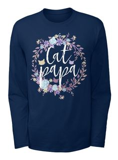 Cat Papa   Flower Crown Shirt And Hoodie Navy T-Shirt Front