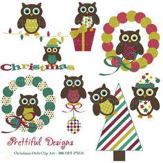 Christmas Owl Clip Art for Digital Scrapbooking, Invitations, Paper Goods, Card Making - Deck The Halls (419)