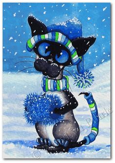 Siamese Cat Winter Snow Balls  Art Print or ACEO by AmyLynBihrle