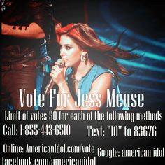 Tonight don't forget vote for @JessMeuse #muses #teamjess #americanidol