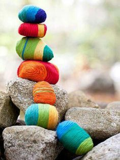 """The """"Yarney Stone"""" - a bit of colorful yarn, wrapped around stones, adds whimsy to and rock garden or landscape!"""