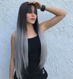 "24"" Grey Ombre Synthetic Wigs with Bangs-edw1018"