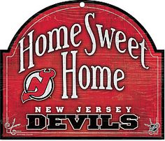 """""""Home Sweet Home"""" New Jersey Devils Wooden Sign"""