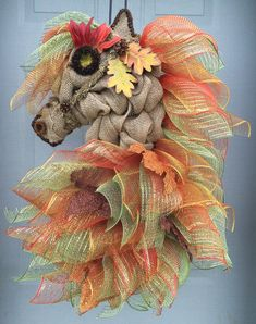 Autumn Leaves Horse Head Wreath Fall Horse Horse by ANobleTouch