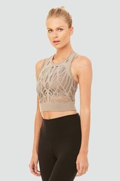 Alo Yoga Vixen Fitted Crop Tank - Gravel image 1 - The Sports Edit
