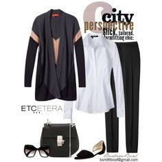 GRADUATE black/charcoal/camel cardigan, SNOW white blouse, GATSBY black pant. ETCETERA FALL TRUNK SHOW through August 12 in Moraga, CA and San Francisco. Contact me to visit! bsmithbisel@gmail.com