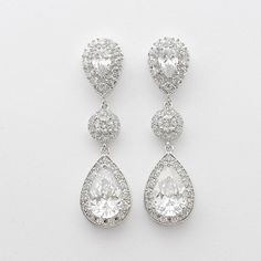 Wedding Earrings Bridal Jewelry Large Clear Cubic door poetryjewelry