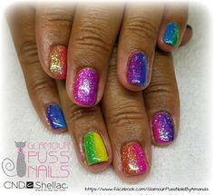 Rainbow Sparkly Shellac Nails !