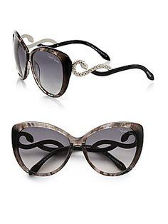 Roberto Cavalli Kurumba Glam Cats-Eye Crystal Snake Sunglasses