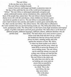 Read about the real Africa