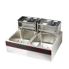 Flexzion Dual Tank Deep Fryer 5000W 12L Liter Electric Countertop Double Basket Stainless Steel for Commercial Restaurant Kitchen Built in Timers  Adjustable Temperature -- Continue to the product at the image link.Note:It is affiliate link to Amazon.