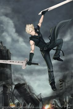 original character from final fantasy cloud strife, i think everyone know him. Final Fantasy Cloud, Fantasy Series, Fantasy Rpg, Cloud And Tifa, Cloud Strife, Tidus And Yuna, Vincent Valentine, Video Game Characters, Kingdom Hearts