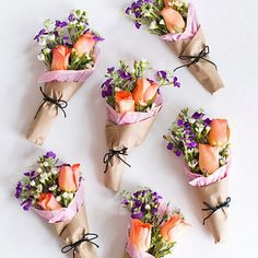 Hand out mini flower bouquets to all your pals this Valentine's Day!
