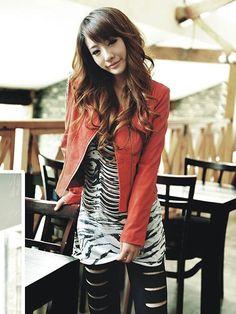 Bardian Epaulet Tassel Zipper Up Women Biker Jacket Coat Red  US$26.99(45% OFF)