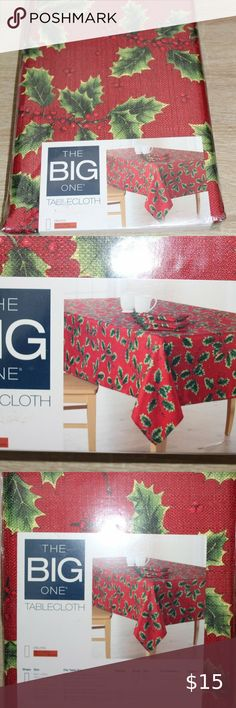 Christmas Tablecloth White Xmas candle Red Gold Green Pattern Oblong Rectangle