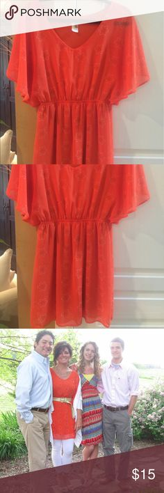Fun orange dress for summer! Fun orange dress for summer! Can wear with leggings as shown in pic if prefer. Barely worn. Dresses Mini