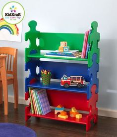 Our popular Puzzle Bookshelf is perfect for helping young children stay organized. With its bright colors and creative design, this shelf would look perfect in any boy or girl's room. Features: Three