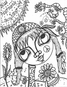 My, What Big Eyes You Have, coloring book, hippie girl with big eyes