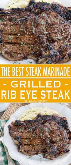 BEST Steak Marinade for Grilled Rib Eye Steaks, marinated and grilled to perfection, you will make this recipe again and again! This is seriously the best steak marinade I have ever tried and works on all cuts of steak (and pork! Steak Marinade For Grilling, Steak Marinade Recipes, Grilled Steak Recipes, Ribs On Grill, Grilled Beef, How To Grill Steak, Grilling Recipes, Beef Recipes, Cooking Recipes
