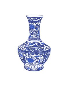 Set of Four Blue and White Chinese Vases Giclee por thepinkpagoda