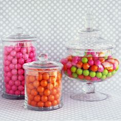 Other glass canisters filled with candy