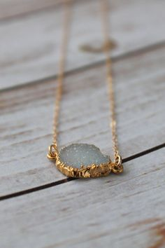 Petite White Druzy Gold Filled Necklace Dainty Druzy by LucyMint