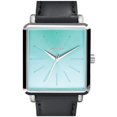 Nixon 'The K Squared' Leather Strap Watch, 32mm x 30mm (€135) ❤ liked on Polyvore featuring jewelry, watches, nixon wrist watch, black watches, nixon watches, black square watches and rectangle watches