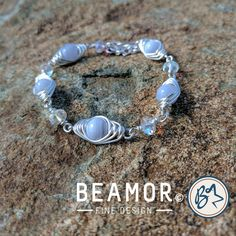 Blue Lace Agate Gemstone Bracelet Wire wrap Herringbone weave boho style by BeamorFineDesign on Etsy Quartz Crystal, Rose Quartz, Tree Agate, Snowflake Obsidian, Blue Lace Agate, Agate Gemstone, Goods And Services, Czech Glass Beads, Handmade Bracelets