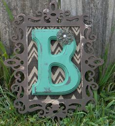Monogram Wall Initial so gonna do something like this with our guest letter the wood frame they have at Micheal's and i got the letter in canton for 12 bucks and the back you can add fabric