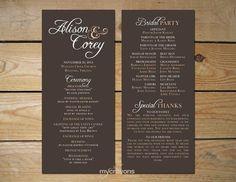 Modern Rustic Script Printable Wedding Program // Order of Service // Brown, Ivory and Cream Tones, Rustic Wedding