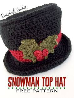 Crochet Beanie Design Snowman Top Hat {FREE PATTERN} - This post includes a free Christmas Holly Crochet Pattern and Photo Tutorial. I had a request for a quick photo tutorial to help with the Holly Leaves used in my Festive Cup Cozy Pattern.I dec. Crochet Snowman, Crochet Christmas Decorations, Crochet Christmas Ornaments, Christmas Crochet Patterns, Noel Christmas, Snowman Hat, Snowmen, Xmas, Christmas Crafts