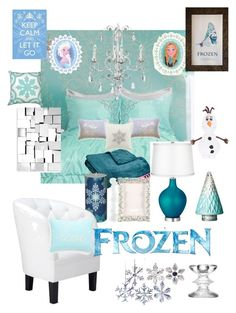 Disneyhome- Frozen Elsa inspired Teen bedroom by bijouxetsoirees on Polyvore featuring interior, interiors, interior design, home, home decor, interior decorating, Northpoint, Zuo, Disney and Nordstrom