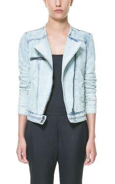 Rozpinana kurtka z jasnego jeansu - Zara