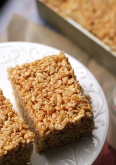 Everyone's favorite after school snack gets a sophisticated update with these salted caramel brown butter rice krispie treats.