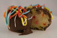 Vanilla Confetti Cake Balls dipped in Chocolate by KaycesKitchen, $16.50