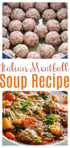Loaded with tender beef meatballs, potatoes, and plenty of veggies, this flavorful soup is always a crowd-pleaser. An easy and affordable dinner option sure to please the whole family! #meatballsoup #soup #meatballs #Italiansoup #Italianmeatballs #Italianmeatballsoup #souprecipes