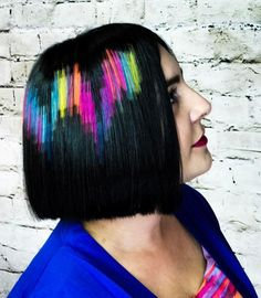 Black Blunt Bob With Pixels Hair Tattoo Short Layered Bob Haircuts, Blunt Bob Hairstyles, Inverted Bob Haircuts, Short Bob Cuts, Side Bangs Hairstyles, Bob Haircut With Bangs, Bob Haircuts For Women, Black Hairstyles, Short Hair Cuts