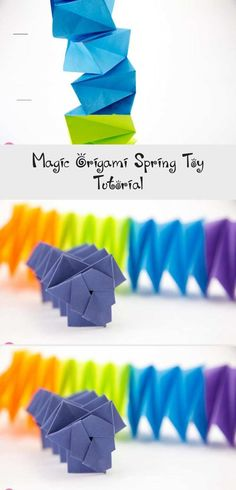 Magic Origami Spring Toy Tutorial, Learn how to make a fun magic origami spring toy. This accordion type origami gadget is addictive to play with, impress your friends! Tulip Origami, 3d Origami Heart, Origami Cup, Origami Lotus Flower, Origami Gift Box, Origami Frog, Cute Origami, Kids Origami, Origami Bookmark