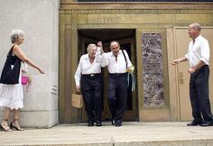 Myron Levine (center, L) and Philip Zinderman celebrate after being married outside the Manhattan City Clerk's office July 24, 2011. They have been together for 51 years.